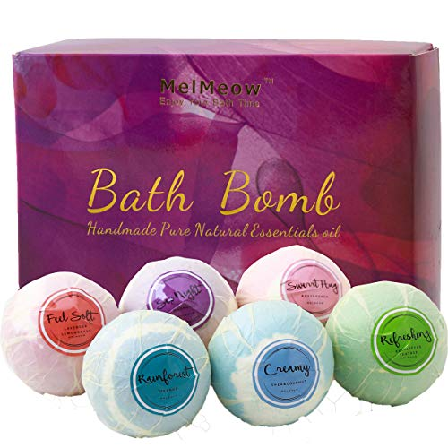 Bath Bombs Ultra Lush 6 XXL All Natural Fizzies With Dead Sea Salt Coco Butter and Shea Essential Oils Best Idea for Birthday, Mom, Girl, Him, Kids Add to Bath -