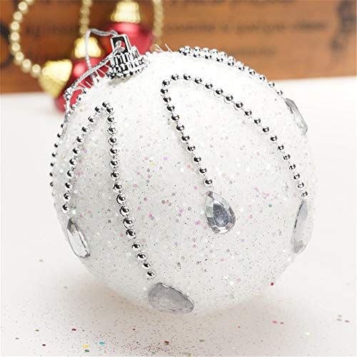 Christmas Rhinestone Glitter Baubles Balls Xmas Tree Ornament Decoration (8cm in Diameter) Decorative Ball for Holiday Wedding Party Decoration (White) by TLT Retail (Image #2)