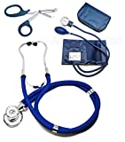ASATechmed Nurse/EMT Starter Pack Stethoscope, Blood Pressure Monitor and Free Trauma 7.5' EMT Shear Ideal Gift for Nurse, EMT, Medical Students, Firefighter, Police and Personal Use (Navy Blue)