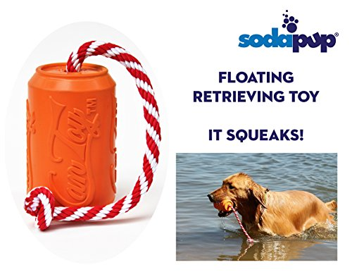 SodaPup - Natural Rubber Training Dummy - Foating Water Toy - Water Retrieving Toy - Made in USA - Orange - Large