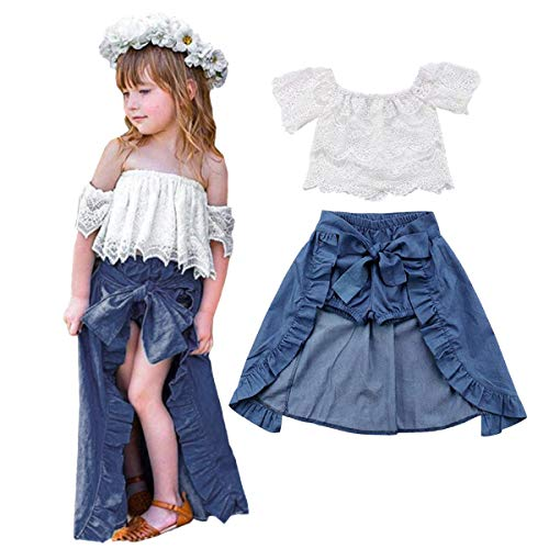 Girls Denim Dresses (3PCS Toddler Kids Baby Girls Summer Outfit Lace Top Denim Shorts Ruffle Dress Clothes Set (3-4T,)