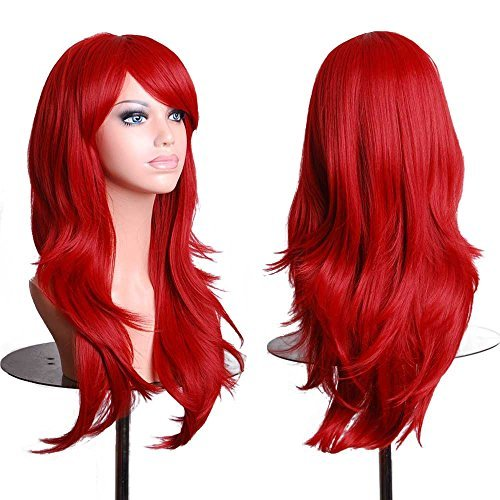 Besgo 28 Inches Curl Costume Cosplay Wig with Wig Wap Wine Red