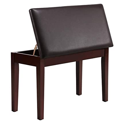 Topeakmart Duet Piano Bench Piano with Padded Cushion and Music Storage  Keyboard Seat Chair Brown