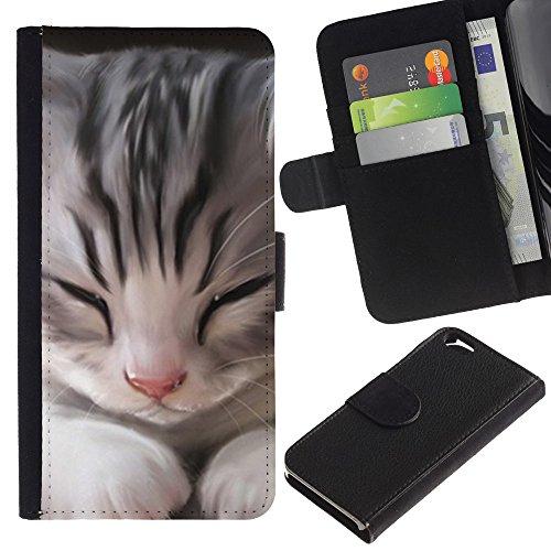 LASTONE PHONE CASE / Luxe Cuir Portefeuille Housse Fente pour Carte Coque Flip Étui de Protection pour Apple Iphone 6 4.7 / Kitten Maine Coon House Cat Sleepy