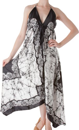 Sakkas 108 Veins Print Satin V-Neck Halter Handkerchief Hem Dress - White - One Size