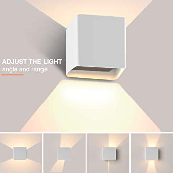 Apliques Pared LED 3000K 1000LM, Hommie Lámpara de Pared Interior, Apliques Pared Exterior Impermeable IP65, Aplique de Pared Moderna de Angulo de Haz Ajustable, Aplique Pared de Luz Blanco Cálido A++: Amazon.es: