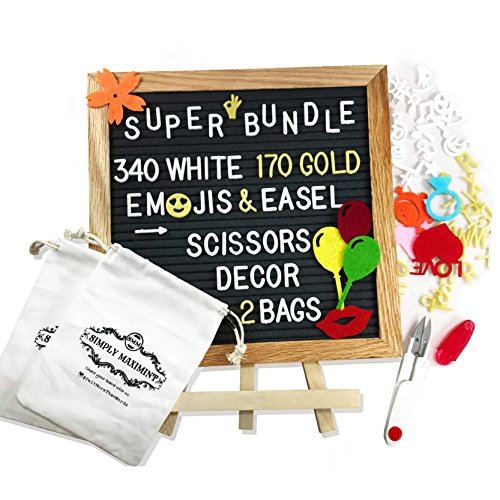 Black Changeable Felt Letter Board with Wall-Mount - 10 x 10 Inches Bulletin Message Sign - 510 White & Gold Letters, Numbers, Symbols, Stickers, Emojis, Wood Stand, Scissors and 2 Bags