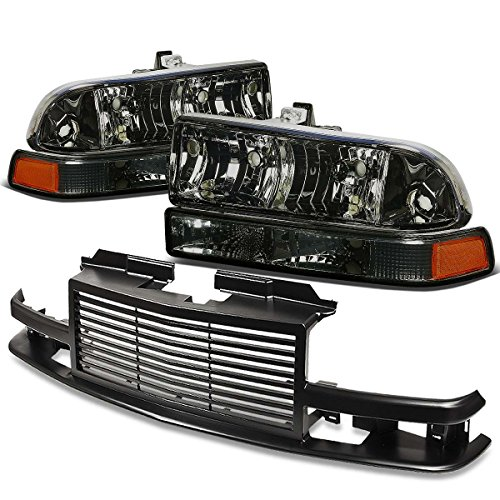 For Chevy S10/Blazer GMT 325/330 Headlight (Smoke Lens Amber Reflector)+Front Grille (Black) Chevy Blazer Projector Headlights
