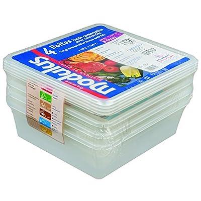 Le sachet de 4 boîtes + couvercles GN 2/3 professionnels 354 x 325 mm à contenance de 12 Lt