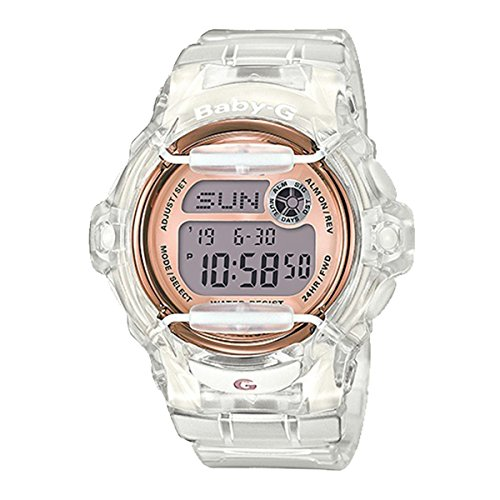 Casio Baby-G BG169G-7B Face Protector Ion-Plated Metal White Rose Gold Watch - Face Is My Round