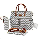 Kattee Chevron Diaper Bag Baby Nappy Tote Bag with Changing Pad & Bottle