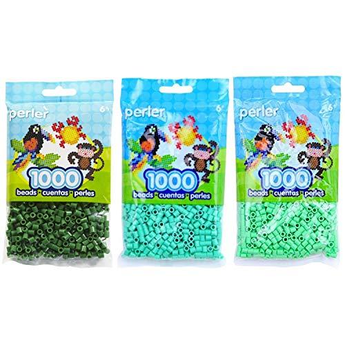 (Perler Bead Bag Green Group (Dark Green, Light Green, Pastel)