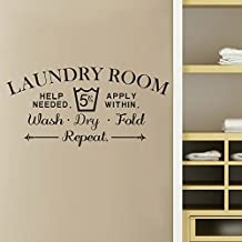 """Wall Decal Decor Laundry Room Wall Decal - Wash Dry Fold Wall Stickers Laundry Room Decor Laundry Room Sign Vinyl Decal Sticker(dark gray, 16.5""""h x34""""w)"""