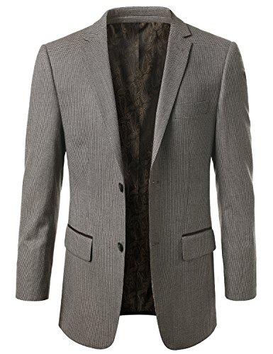 MONDAYSUIT Men's Modern Fit PLAID 100% Wool Sport Coat Blazer Jacket - BROWN by MONDAYSUIT