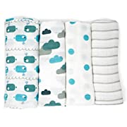 Emma & Noah Muslin Swaddle Blankets, 4 Pack, 100% Cotton, 31.5 x 31.5 inch, Blue