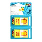 Redi-Tag-Sign Here Printed Pop-Up Page Flags, 2 Dispensers Per Pack, 100 Total, 1 X 1.7-Inch, Yellow with Red Print-74004