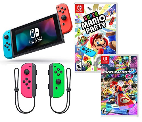 Nintendo Switch Super Mario Kart & Party Bundle: Nintendo Switch with Neon Red and Blue Joy-Con, Super Mario Party, Mario Kart 8 Deluxe, Extra Neon Green and Pink Joy-Con