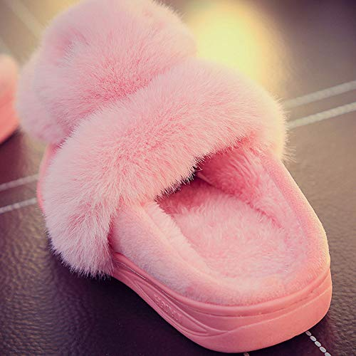 Shoes Soft Slippers Indoor Women Pink Fluffy Rabbit Outdoor Slipper Winter Fur Cute HxfUZIqUw