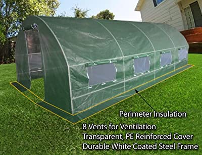 Quictent 2 Doors Heavy Duty 20'x10'x6' Portable Greenhouse Large Walk-in Green Garden Hot House 8 vents + 2 doors Flow-through Ventilation