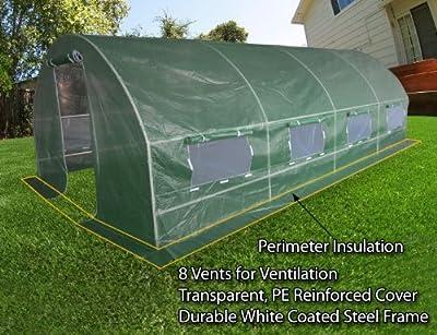 Quictent 2 Doors Heavy Duty 20'x10'x6' Portable Greenhouse Large Walk-in Green Garden Hot House 8 vents + 2 doors Flow-through Ventilation