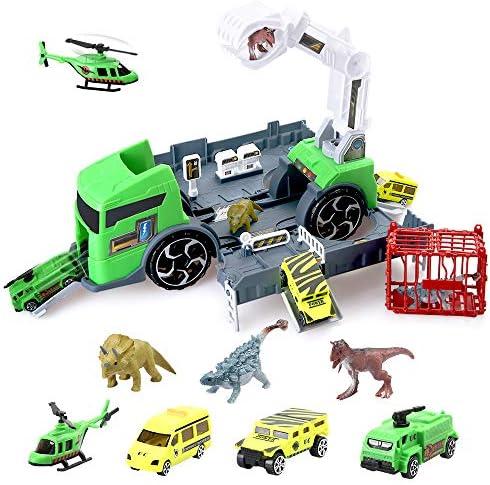 BeebeeRun Dinosaurier Spielzeug Spaß Dinosaurier Truck mit Dino Figuren Dino World Set für Jungen Mädchen Kinder Kinder