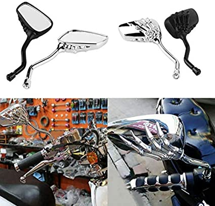 Rearview Mirror 2Pcs Motorcycle Street Bike Modified Square Rearview Mirror Rear View Side Mirrors Chrome