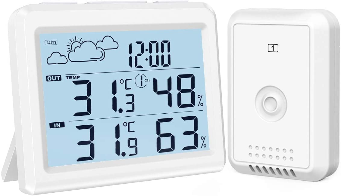 Brifit Weather Station, Digital Indoor Outdoor Thermometer Hygromete, Home Weather Forecaster Station, Wireless Temperature and Humidity Monitor with Remote Sensor, Backlight, Time, Alarm Clock