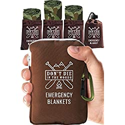 Don't Die In The Woods World's Toughest Emergency Blankets | 4 Pack Extra Large Thermal Mylar Foil Space Blanket for Hiking, Marathon Running, First Aid Kits, Outdoor Survival Gear | Camo