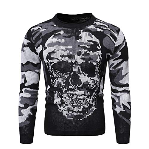 70's Makeup Styles (MIS1950s Halloween Men's Casual Knitted Sweater Long Sleeve Skull Print Pullover Tops (S,)