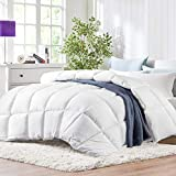 JURLYNE Queen/Full White Comforter Quilted Reversible Duvet Insert, Hypoallergenic Breathable for All Season, Fluffy Light-Weighted Down Alternative Comforter