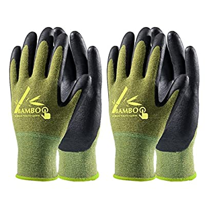 COOLJOB Bamboo Working Gloves for Men and Women, Nitrile Coated Gardening Gloves, Work Gloves Touchscreen for General Purpose, Green/Black, 2 Pairs Pack