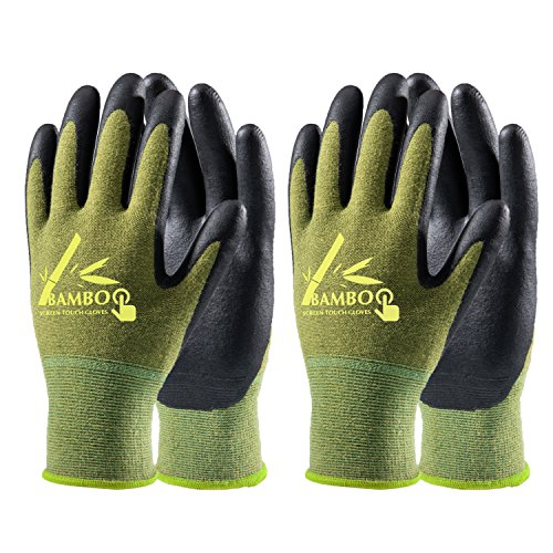 COOLJOB Bamboo Working Gloves for Men and Women, Nitrile Coated Gardening Gloves, Work Gloves Touchscreen for General Purpose, Green/Black, 2 Pairs Pack, Medium Size