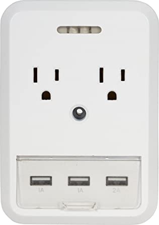 Amazon.com: GetPower Slim Home Outlet Adapter 2 Standard AC Ports, 1 ...