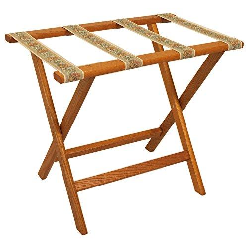 Wooden Mallet Deluxe Straight Leg Luggage Rack, Medium Oak, Brown Straps