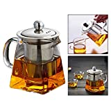 Square Glass Teapot Heat Resistant Bottle Cup with Infuser Perfect for Tea and Coffee 6.8x8.5x7.2 cm (350ml)