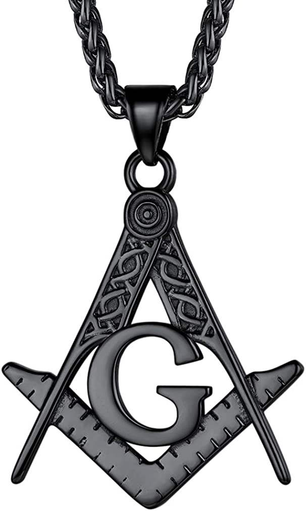 FaithHeart Masonic Necklace for Men, Freemason Compass Symbol Stainless Steel or 18K Gold Plated Free and Accepted Masons Pendant Jewelry with Gift Packaging