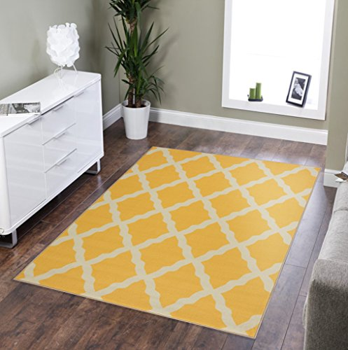 "Ottomanson Glamour Collection Contemporary Moroccan Trellis Design Kids Lattice Area Rug (Non-Slip) Kitchen and Bathroom Mat Rug, 8'2"" X 9'10"", Yellow"