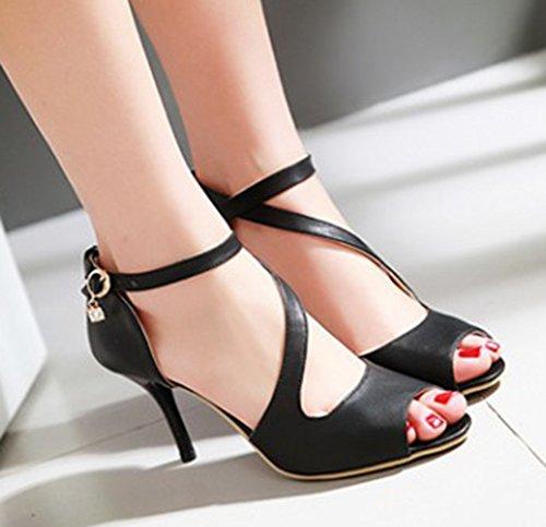 ... Aisun Femmes Sexy Strappy Peep Toe Robe Boucle Haute Talons Aiguilles Sandales  Chaussures Avec Des Sangles ee342f9b44a