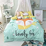 TheFit Paisley Textile Bedding for Young Adult W484 Cute Love Fox Duvet Cover Set 100% Cotton, Twin Set, 3 Pieces