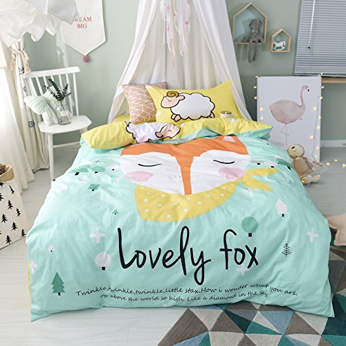 TheFit Paisley Textile Bedding for Young Adult W484 Cute Love Fox Duvet Cover Set 100% Cotton, Twin Set, 3 Pieces by TheFit