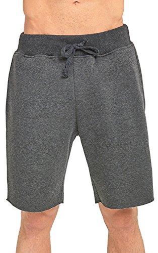 Drawstring Fleece Sweatshirt (ToBeInStyle Men's Drawstring Solid Print Fleece Shorts - Charcoal - Large)