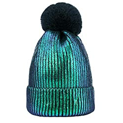 Green-A Sequin Beanie Hat with Faux Fur