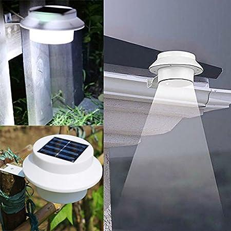 Bureze Garden - Lámpara de Techo con 3 Luces LED solares para Vallas de jardín: Amazon.es: Hogar