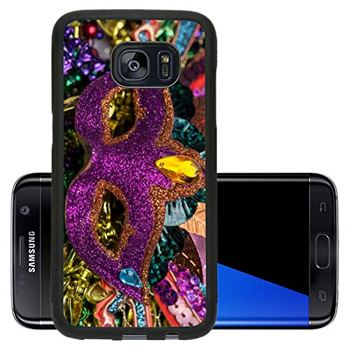 Luxlady Premium Samsung Galaxy S7 Edge Aluminum Backplate Bumper Snap Case IMAGE ID 26111610 Close up view of purple sequined Mardi Gras mask with colorful beads out focus in the (Carnavale Costumes)