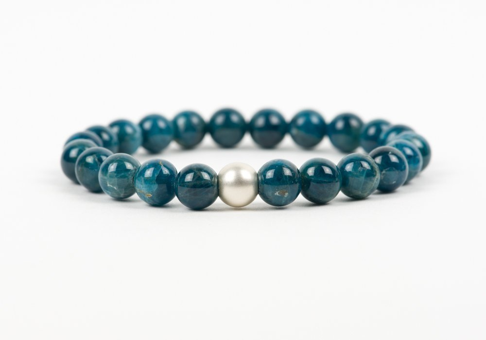 Great handmade stretch bracelet natural blue apatite 8mm Reiki infused The apatite bracelet 8mm