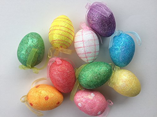 Easter Tree Decorations (Easter Egg Tree Glitter Ornaments Pack of 12)