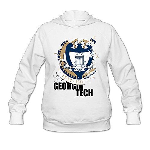 Universal Mascot T-shirt - ZZYY Women's Long Sleeve Hoodies Georgia Institute Of Technology Sweater Size XXL White
