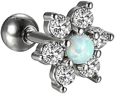 Wxbox Opal Flower Stainless Steel Cartilage Barbell Earring