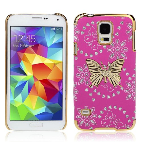 amtonseeshop 1PC Creative Bling Leather Butterfly Case Cover For Samsung Galaxy S5 i9600 G900 (Hot Pink)