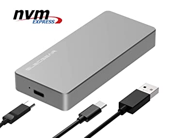 NVMe PCIe M.2 SSD to USB 3.1 Gen2 Enclosure - ElecGear NV-C01 External Aluminum Cooling Case, 10Gbps 2280 PCI-E M2 M-Key NGFF HDD Card Reader Adapter, ...